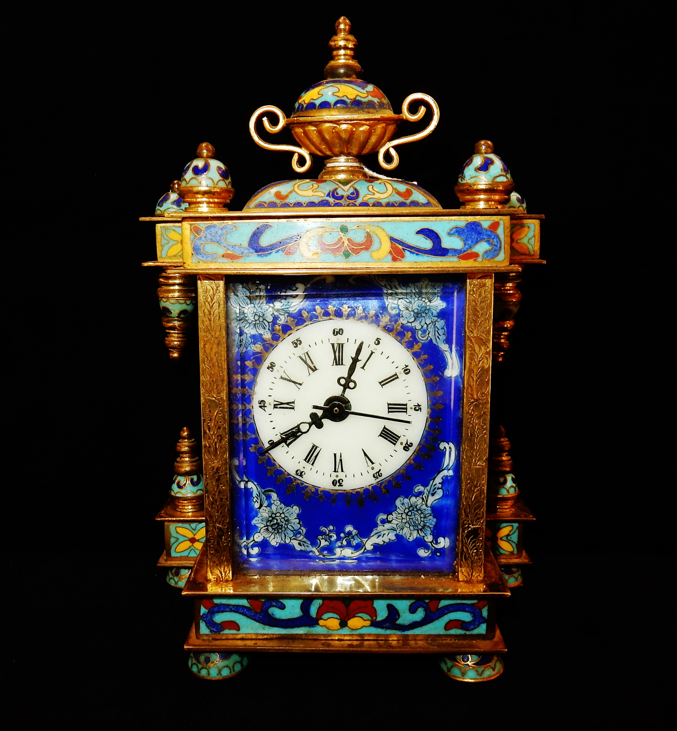Orologio da tavolo cappuccina in bronzo dorato e smalti epoca napoleone iii navona antiquariato - Orologi d epoca da tavolo ...